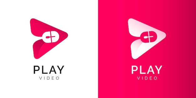 Ilustracje przycisku odtwarzania szablon projektu logo kanału wideo
