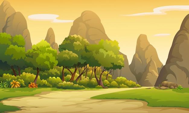 Ilustracje przyrody o zachodzie słońca