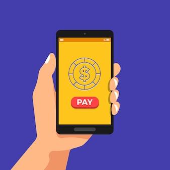 Ilustracje ręka trzymać koncepcja smartfona bankowość mobilna płatność i przelew pieniędzy online