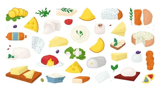 Ilustracje rodzajów sera ustawione na wite. plasterki parmezanu, cheddar, ikony świeżej żywności. ser szwajcarski, gauda, roquefort, kawałki dla smakoszy brie. edam, serowa kolekcja mozzarelli.