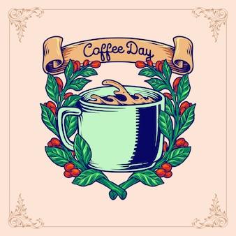 Ilustracje roślin dzień kawy
