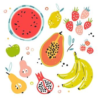 Ilustracje różnych rodzajów owoców