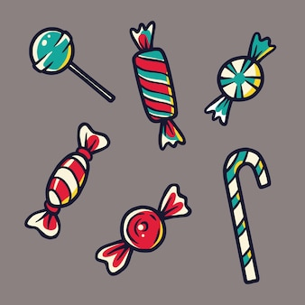 Ilustracje słodyczy i cukierków do projektowania wakacyjnego