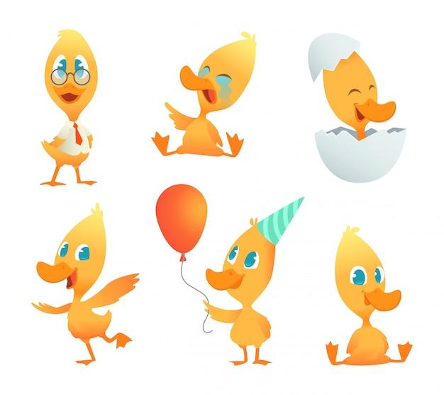 Ilustracje śmieszne kaczki. zwierzęta animowane w pozach akcji