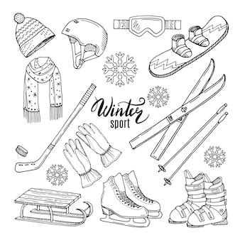 Ilustracje sportów zimowych.