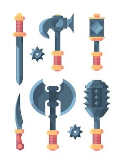 Ilustracje średniowiecznej broni i narzędzi dla wojowników żołnierzy