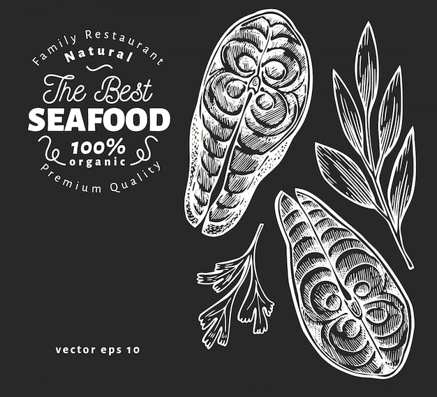 Ilustracje steki rybne. ręcznie rysowane ilustracji wektorowych owoce morza na pokładzie kredy. grawerowany styl. vintage jedzenie, kawałek łososia lub pstrąga