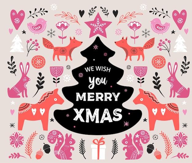 Ilustracje świąteczne, projektowanie banerów ręcznie rysowane elementy i ikony w stylu skandynawskim