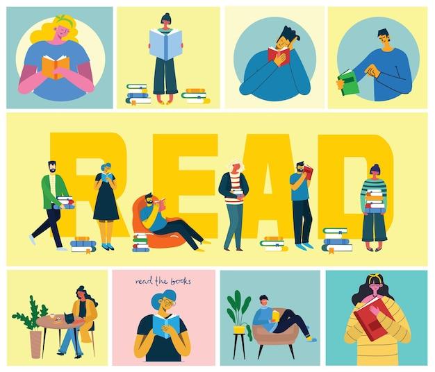 Ilustracje światowego dnia książki, ludzie czytający książkę