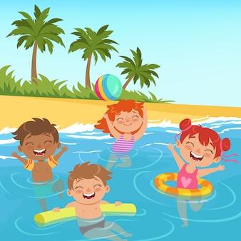 Ilustracje szczęśliwych dzieci w basenie