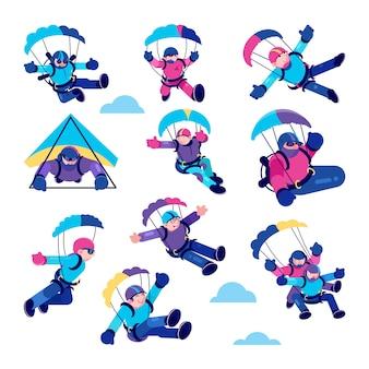 Ilustracje szczęśliwych ludzi paralotniarstwa, aktywny spadochroniarz, zestaw sportowy skoku ze spadochronem