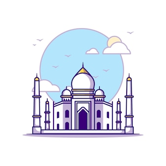 Ilustracje taj mahal. koncepcja zabytków biały na białym tle. płaski styl kreskówki