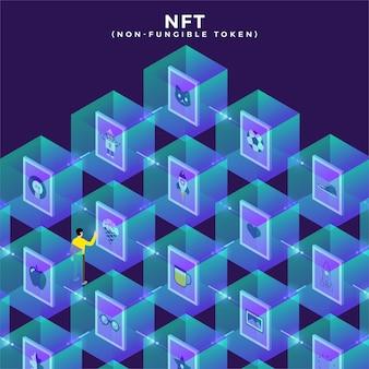 Ilustracje tokenów niepodlegających wymianie nft. koncepcja płaska.