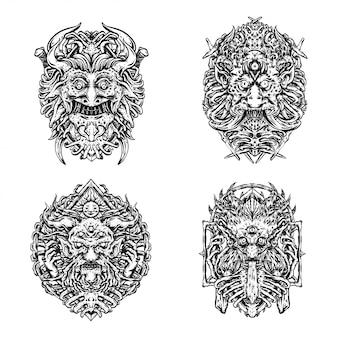 Ilustracje twarzy potwora do projektowania tatuaży