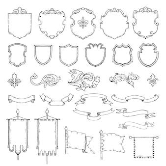 Ilustracje uzbrojonych średniowiecznych tarcz vintage.