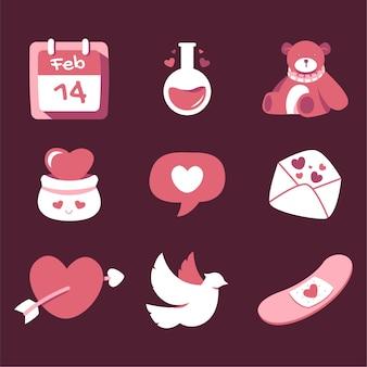 Ilustracje walentynki dla ikony i naklejek