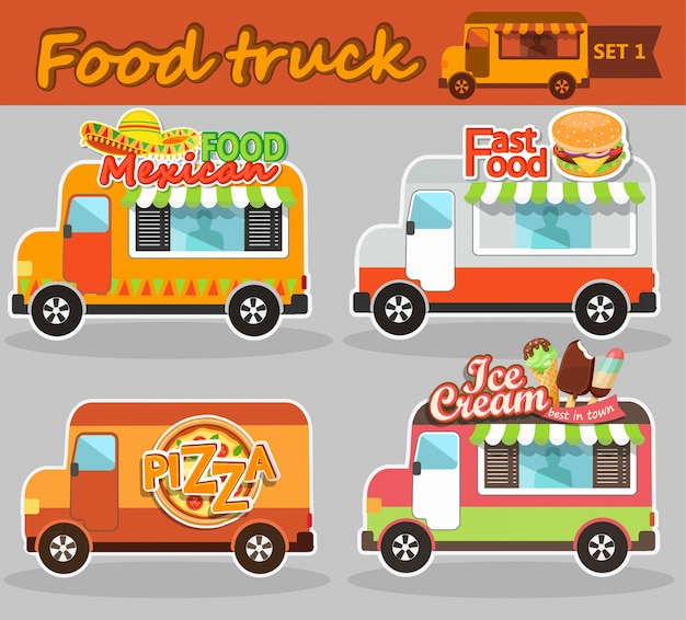 Ilustracje wektorowe ciężarówek żywności.