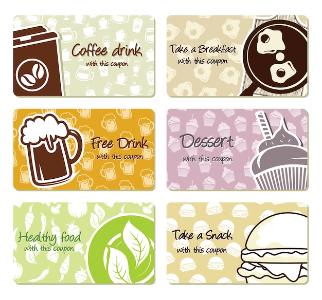 Ilustracje wektorowe etykiet żywności i kuponów
