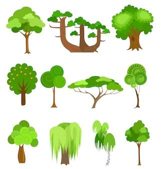 Ilustracje Wektorowe Ikony Drzew Premium Wektorów