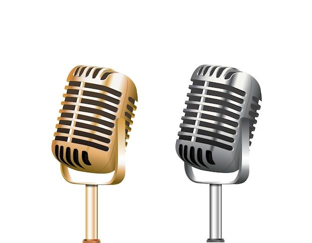 Ilustracje wektorowe kolekcji różnych mikrofonów koncertowych izolowane na przezroczystym