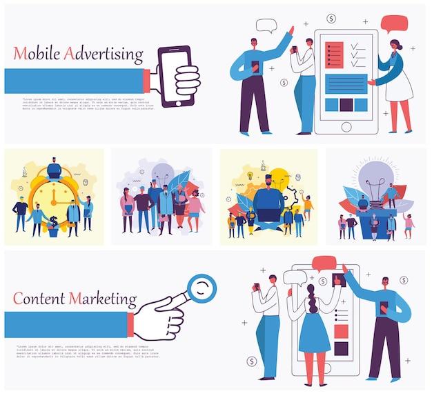 Ilustracje wektorowe koncepcji biura ludzi biznesu w płaskim stylu e-commerce czasu i proj...