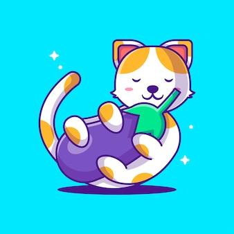 Ilustracje wektorowe kreskówka kot trzyma bakłażana. koncepcja światowego dnia wegetarianizmu