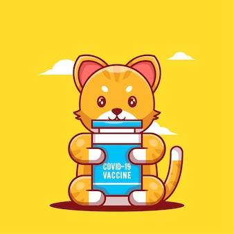 Ilustracje wektorowe kreskówka kot trzyma butelkę szczepionki. koncepcja ikona medycyny i szczepień