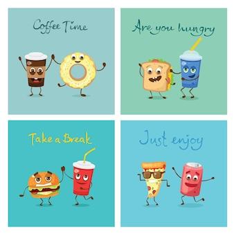 Ilustracje wektorowe kreskówka śmieszne jedzenie znaków - gofry, ciastko, rogalik, filiżanka herbaty i kawy, jajecznica, hamburger, hot dog i frytki i inne z emocjami