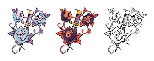 Ilustracje wektorowe mieczy z elementami kwiatów