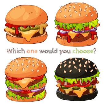 Ilustracje wektorowe na temat fast food: zestaw różnych rodzajów hamburgerów.