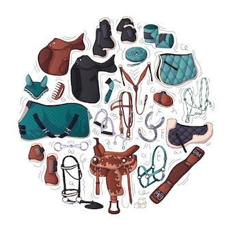 Ilustracje wektorowe na temat sprzętu jeździeckiego.