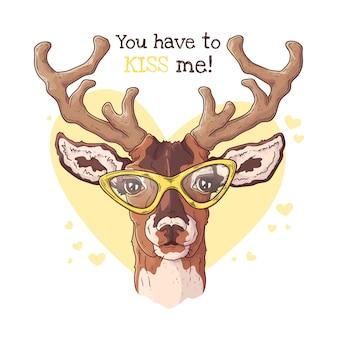 Ilustracje wektorowe. portret cute realistyczne jelenie w okularach.