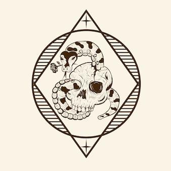 Ilustracje wektorowe python romance skull