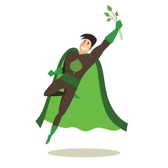 Ilustracje wektorowe w płaskiej konstrukcji zestawu eko biznesu i klasycznych superbohaterów