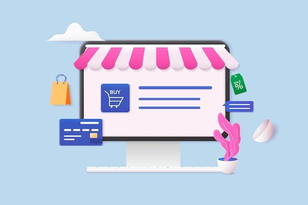 Ilustracje wektorowe w sieci web 3d. ręka trzyma inteligentny telefon komórkowy z aplikacją shopp. koncepcja zakupów online.
