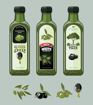 Ilustracje wektorowe zestaw etykiet oliwki