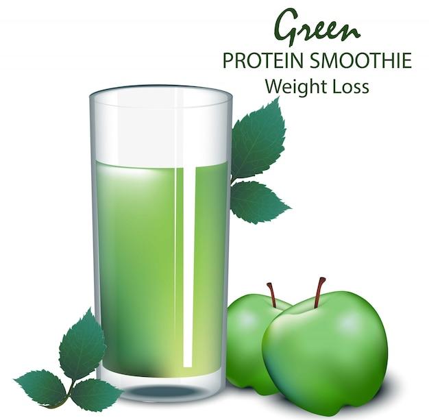 Ilustracje wektorowe zielone jabłko smoothie