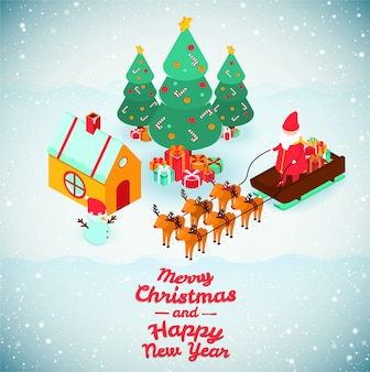 Ilustracje wesołych świąt i szczęśliwego nowego roku.