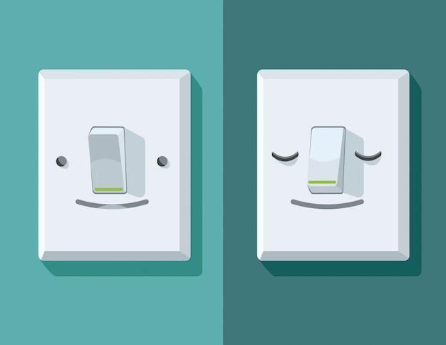 Ilustracje włącznika i wyłącznika z twarzą