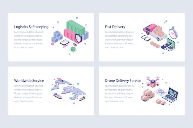 Ilustracje wysyłki i dostawy