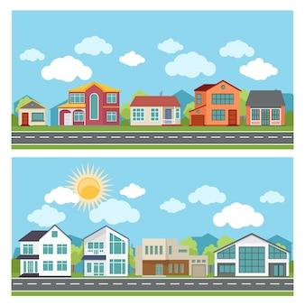 Ilustracje z domkami w stylu płaskiej konstrukcji.
