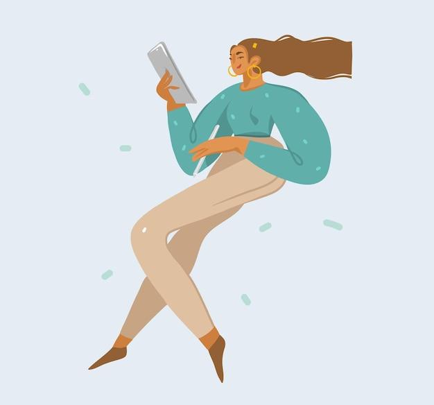 Ilustracje z dziewczyną używa komputera typu tablet