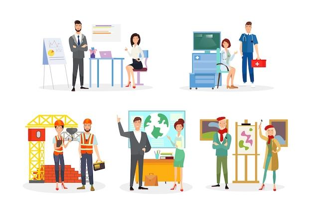 Ilustracje zawodów ustawiają postacie z kreskówek analityków pracowników biurowych