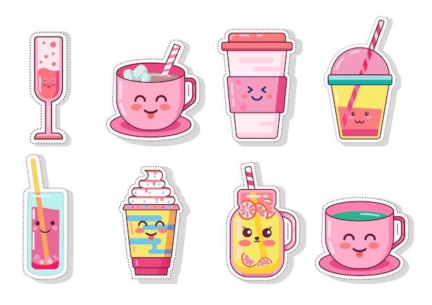 Ilustracje zestaw kawy i napojów kawaii
