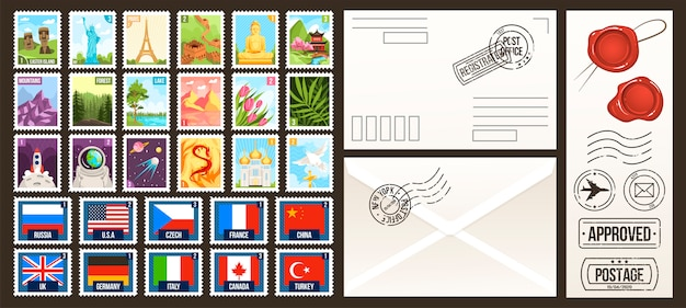 Ilustracje znaczków pocztowych, kolekcja znaczków pocztowych z kreskówek, kraj świata, podróże w stylu vintage lub etykiety przyrodnicze