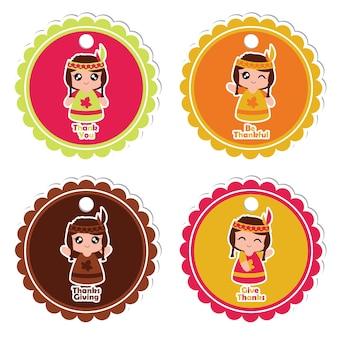 Ilustracji wektorowych cartoon z indyjskich dziewcząt na koloful charakter ramki nadaje się do dziękczynienia dar tag zestawu projektowania, dzięki znacznik i nadruku zestaw naklejek