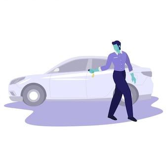 Ilustracji wektorowych człowiek parking jego samochodu