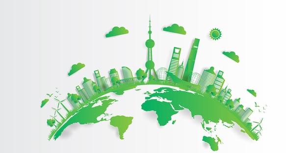 Ilustracji wektorowych. koncepcja przyjazna dla środowiska, zielone miasto ratuje świat,