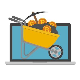 Ilustracji wektorowych koncepcja wydobycia bitcoin