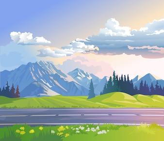 Ilustracji wektorowych krajobrazu górskiego